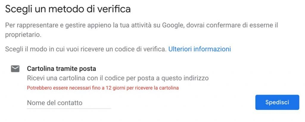 Google My Business assistenza