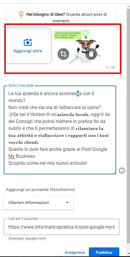 esempio post google